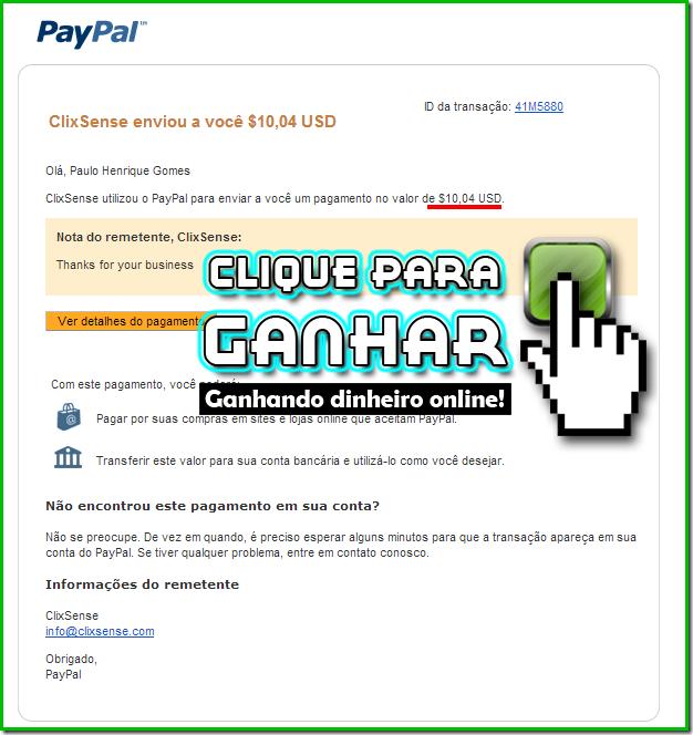Aviso de recebimento do PayPal