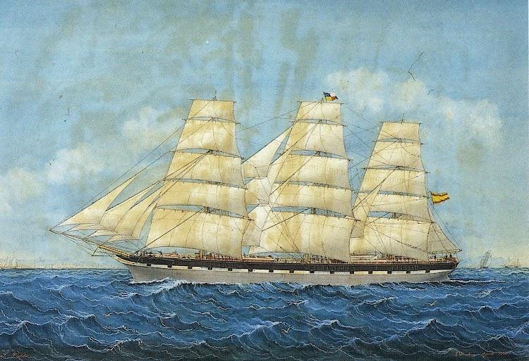 Acuarela de Pineda del HUMBERTO. Por gentileza de la Sra. Mercé Duran i Masferrer. Del libro La marina Mercant de Lloret de Mar, Segles XVIII i XIX..JPG