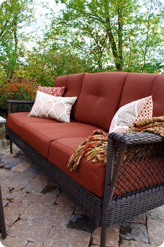 red outdoor sofa