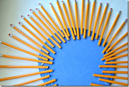 back to school wreath 2nd pencil step