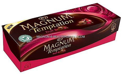 Magnum Temptation Hazelnut bons bons Fruit  Impulse Singles price $4.90 Multipacks $13.90 supermarkets store 7-11 petrol kiosks
