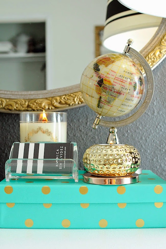 Business meets glamour in this stylish home office with chic accents, fun colors and lots of glam.