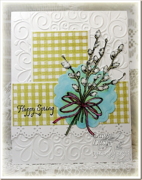 Happy Spring, Gingham Background, Recipe Card and Tags Dies, Our Daily Bread designs, Flower Soft