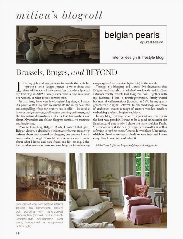 Belgian Pearls in MILIEU Spring 2014