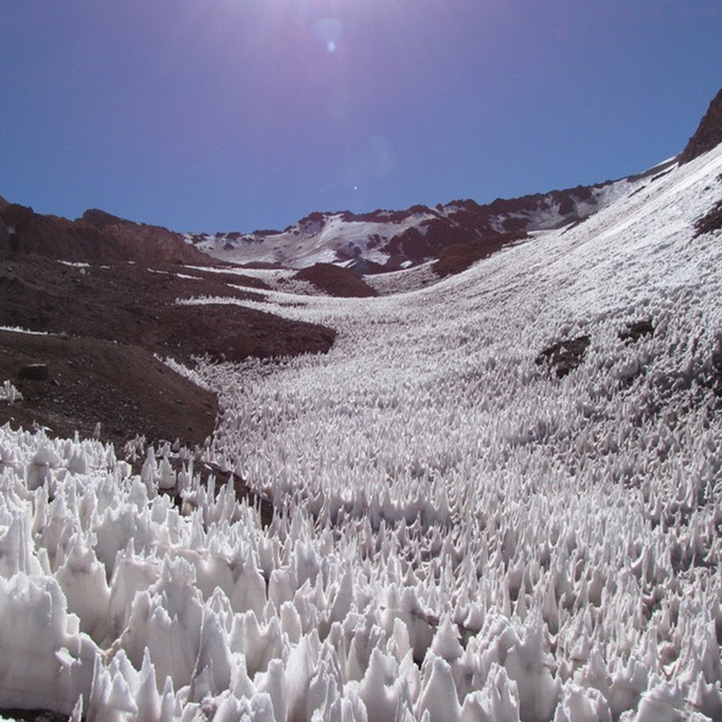 Penitentes: Peculiar Spikey Snow Formation in the Andes