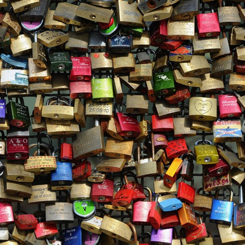 Thousands of Love Locks on Hohenzollernbruecke Bridge, Germany