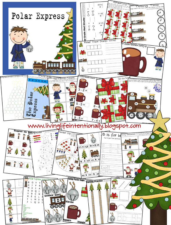 FREE Polar Express worksheets for kids from toddler, preschool, prek, kindergarten, first grade, 2nd grade, and 3rd grade to practice math, counting, adding, alphabet letters, and more based on the polar express. Perfect theme for december; Christmas themed learning!
