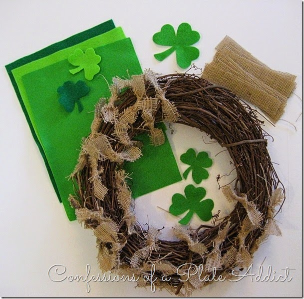 CONFESSIONS OF A PLATE ADDICT St. Patrick's Day Shamrock Wreath supplies