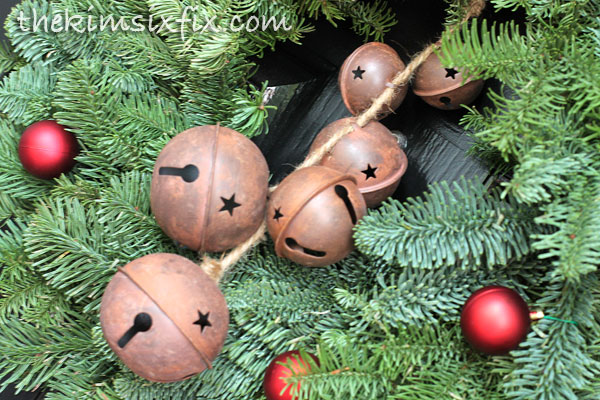 Vintage sleigh bells on wreath