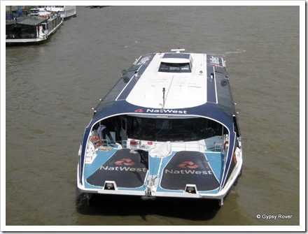 A new catamaran ferry on the River Thames.