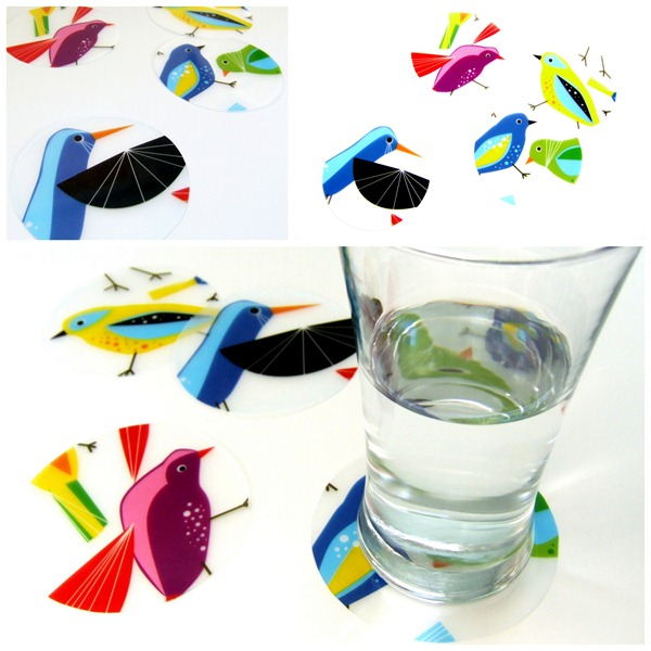 Ikea plastic placemats into coasters (Little Victorian)