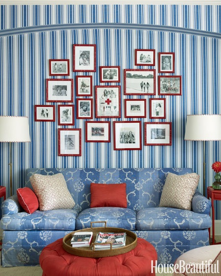 Wall Colour Inspiration: Blue 11 Interiors: Red, White, & Blue Rooms: 5 Ways