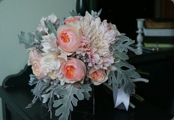 DSC01665 cafe au lait dahlias, juliet garden roses, roses, silver brunia, and dusty miller. anastasia ehlers floral design