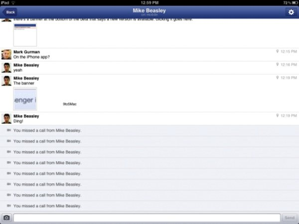 Facebook Messenger para iPad