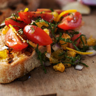 Bruschetta With Tomatoes, Orange & Mint