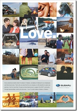 Subaru LGBT friendly employer advertising