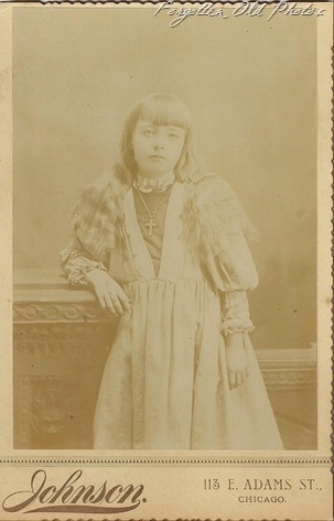 Cabinet Card girl with cross Brainerd Antiques