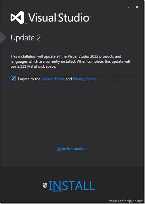 Visual Studio update 2013 Update 2