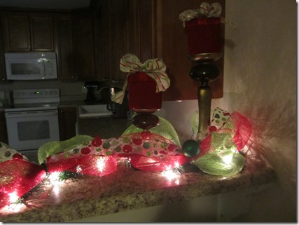 Lighted Deco Mesh Garland at Night