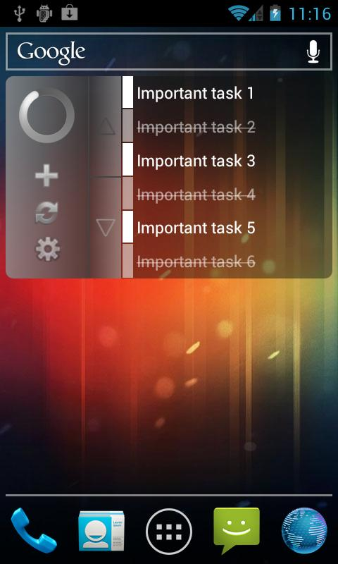 Clean GTasks Widget - screenshot