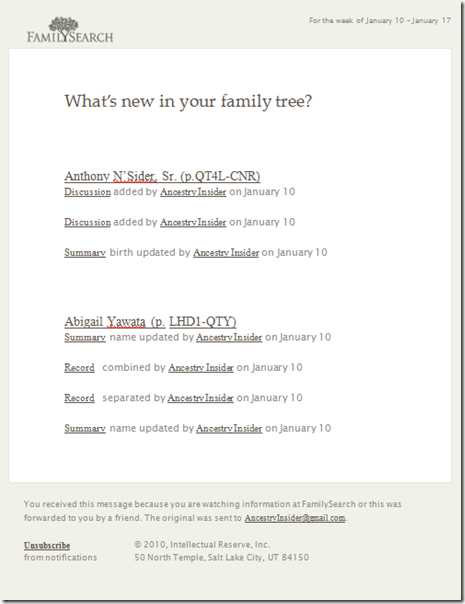 Fumanysearch. Family Tree notification e-mail
