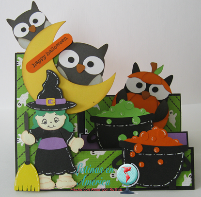 Brewing Beauties - Kadoodlebug Designs - Halloween Card - Step side card - Latinas en America - Ruthie Lopez DT