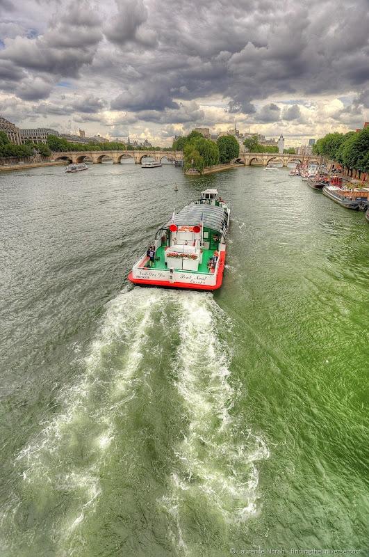 boat on seine hdr