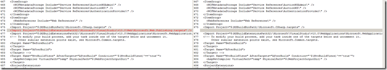 "The existing ""broken"" hosting web app was importing ""Microsoft.Web.Publishing.targets"""