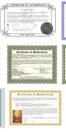 certificates proof artists