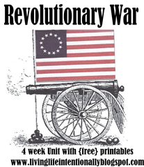 4 Week Revolutionay War Unit with fun, hands on learning activities, free printable lapbook and more to make learning fun for homeschool kids: kindergarten, first grade, 2nd grade, 3rd grade, 4th grade, 5th grade, and 6th grade.