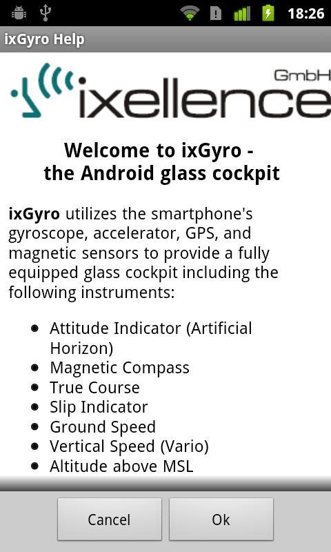ixGyro Glass Cockpit Demo- screenshot
