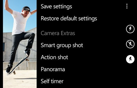 Camera Extras enhances the existing Camera application