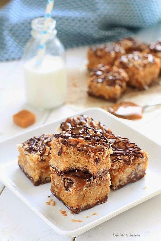 {No-Bake} Samoa Peanut Butter Cereal Bars by @LifeMadeSweeter.jpg