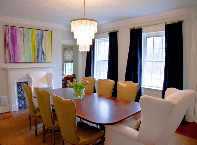 dining room with white walls