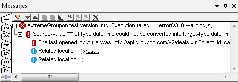 MapForce Messages window siplays data mapping error