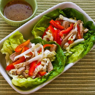 Asian Lettuce Wraps (or Cups) with Pork, Napa Cabbage and Red Bell Pepper.