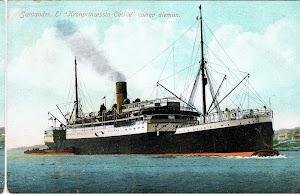El KRONPRINZESSIN CECILIE solia fondear en todos los puertos españoles camino de Cuba. Los pasajeros embarcaban en lanchas. Colección Arturo Paniagua