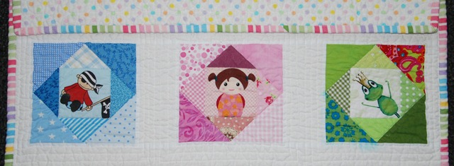 PP Baby Quilt Detail of straight line quilting