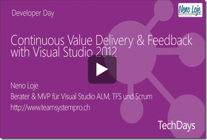 Klicken für Vortrag: Continuous Value Delivery & Feedback with Visual Studio 2012