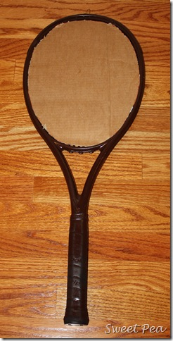 Tennis Racket Dahlia - Use an old or broken tennis racket to make a Tennis Racket Dahlia to hang on a wall or door.