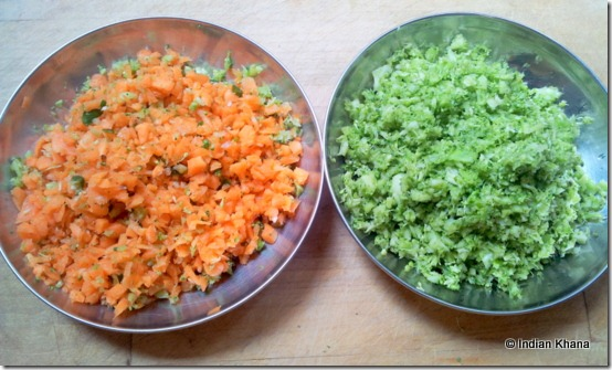 Chopped Broccoli carrot thoran