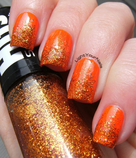 Orange and bronze glitter gradient