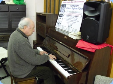 Former President of the North Shore Organ and Keyboard Club, George Watt entertaining the St Annes Club members which he has been doing for each week for 24 years!