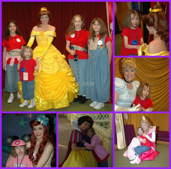 The girls meeting different Disney Princesses