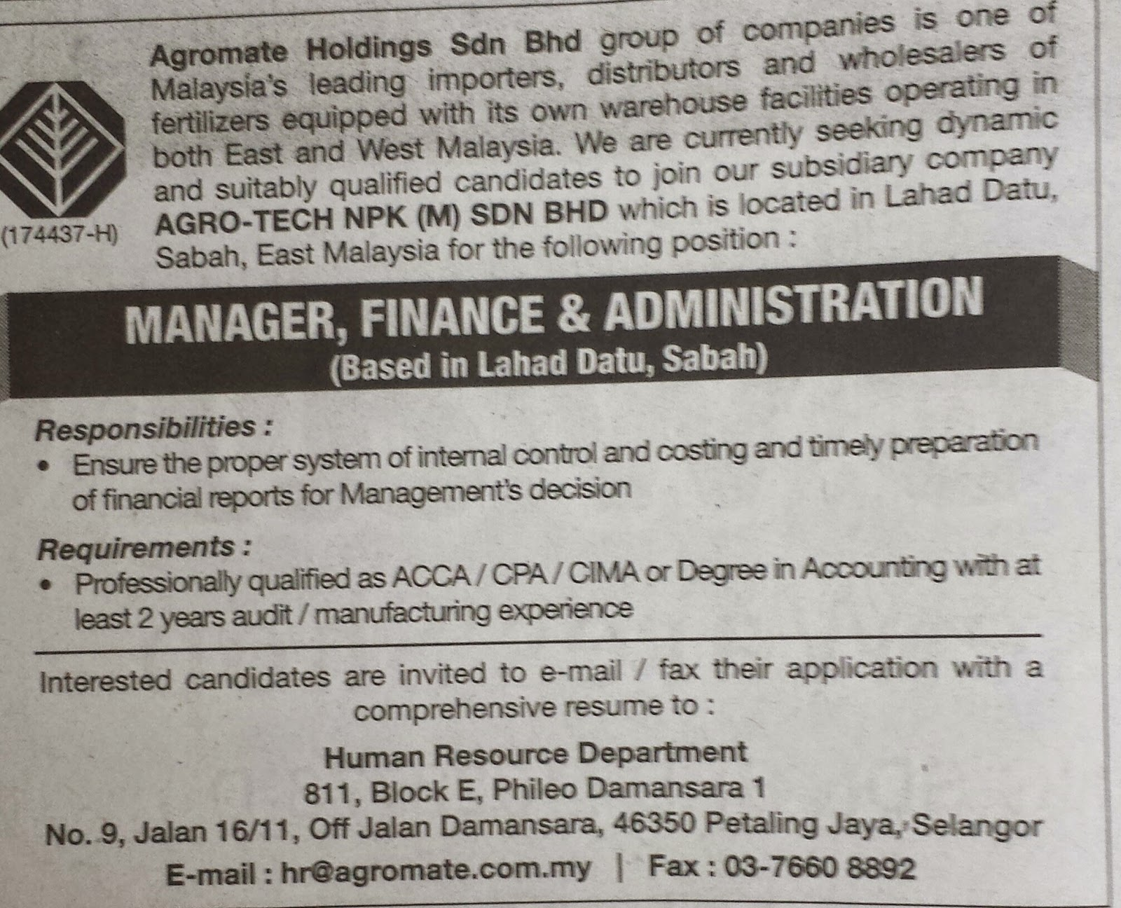 Karier Kini : Vacancy - Agromate Holdings Sdn Bhd