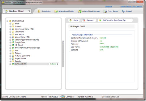 Map a Desktop Drive to SoftLayer Object Storage