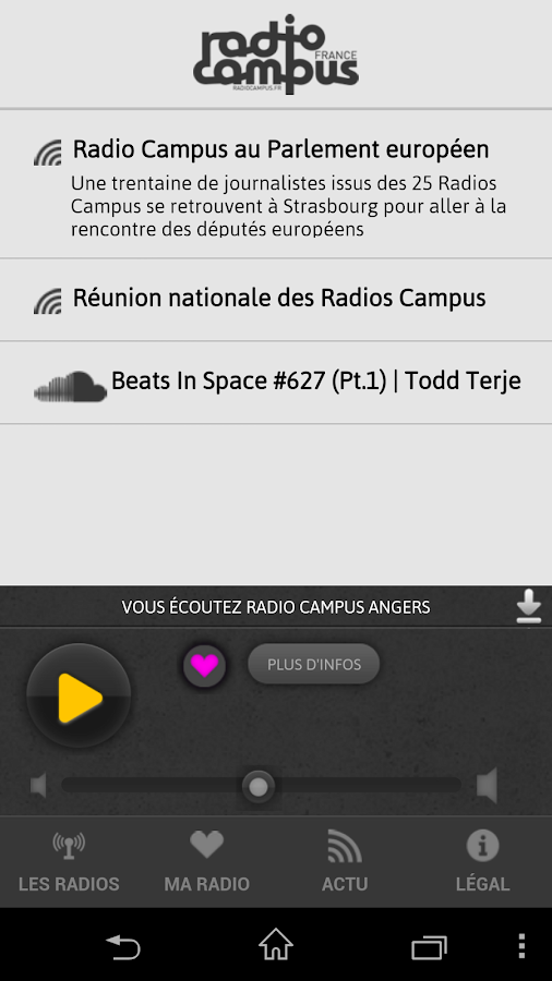 Radio Campus – Capture d'écran