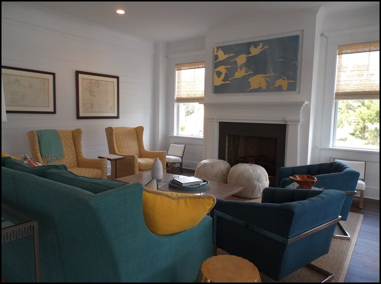 yellow teal family room