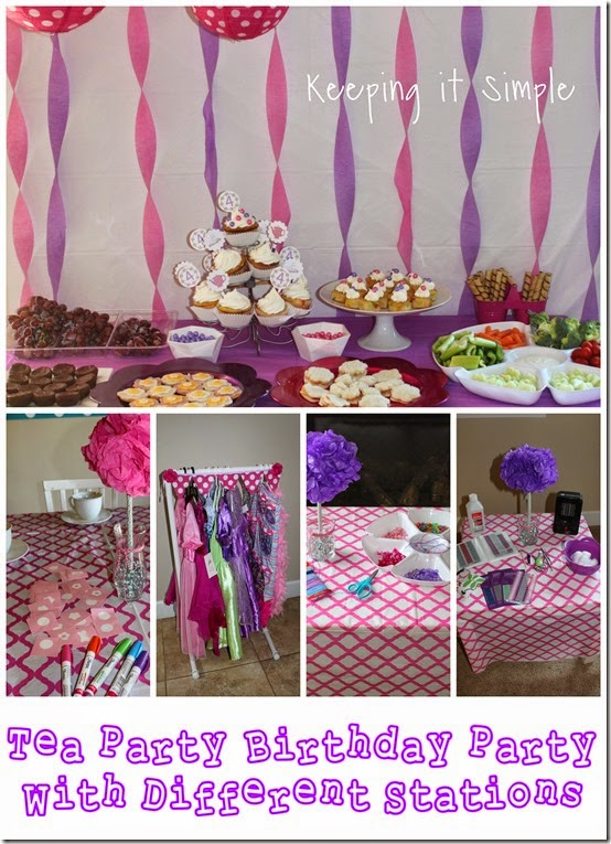 Little girl birthday party idea tea party with stations