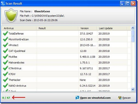 Finestra risultato scansione file PhrozenSoft VirusTotal Uploader